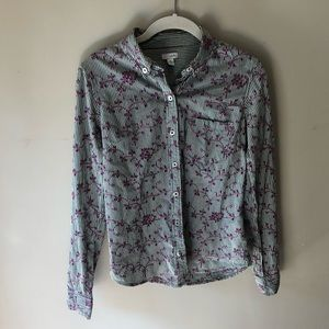 Anthropologie Odille Embroidered Button Down